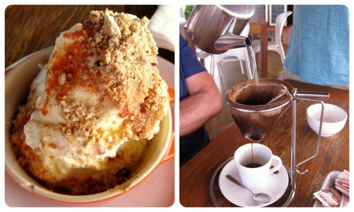 Sorvete de creme com calda de pitanga e café passado na hora - Restaurante Mergulhão