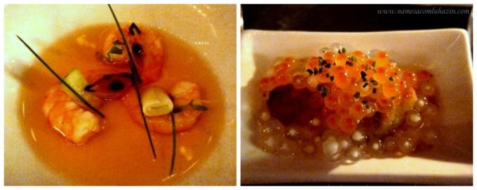 """Camarões com tamarindo, cajuína e alho-poró (à esq) e ostra empanada com """"caviar"""" de salmão e tapioca"""