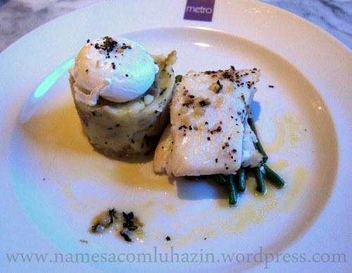 Hadock com batatas e ovo pochê