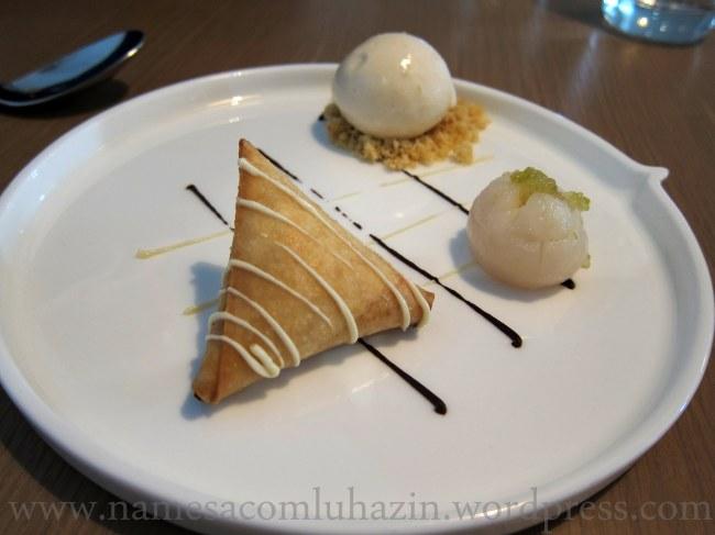 Sobremesa fantástica do Trishna, com lichia
