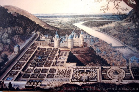 Gravura antiga que ilustra o Castelo de Heidelberg