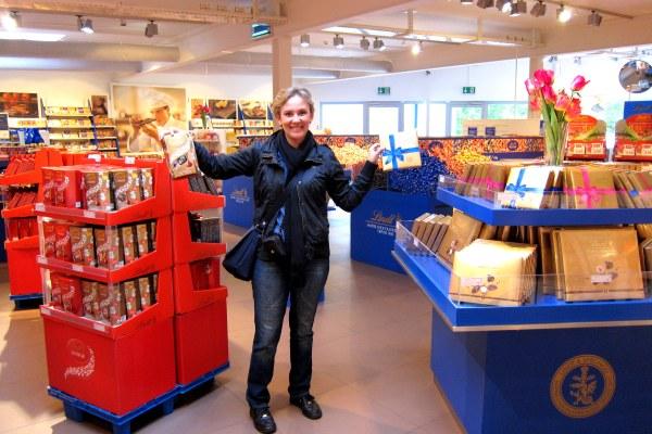 Festa numa das lojas de fábrica da Lindt, na Suíça