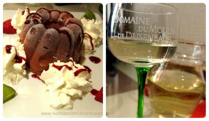 """Sobremesa e vinho riesling que tomamos no """"Le Giersbert"""" em Ribeauvillé"""