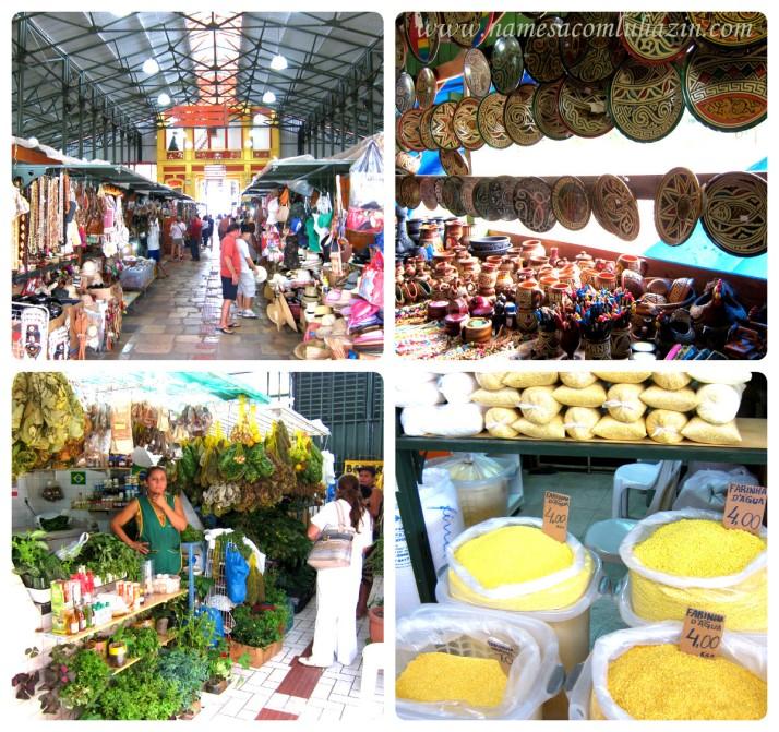 Vão principal do Mercado de Manaus, boxes de ervas, farinhas de mandioca variadas e artesanato
