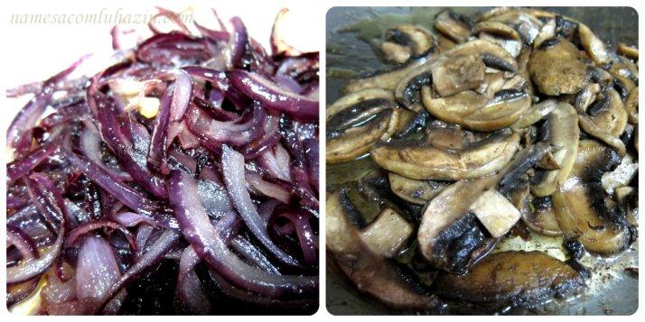 Cebolas caramelizadas e cogumelos paris grelhados