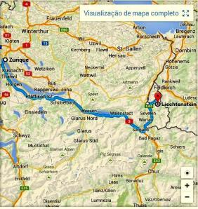 Viagem de Zürich a Liechtenstein