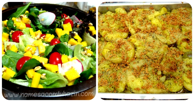 Salada com manga e nozes, e batatas ao murro