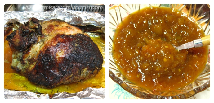 Dupla perfeita: pernil de porco assado com mango chutney