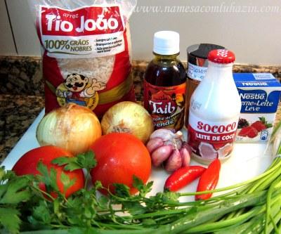 Ingredientes do arroz de polvo