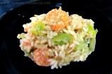 Risoto de camarão com alho-poró