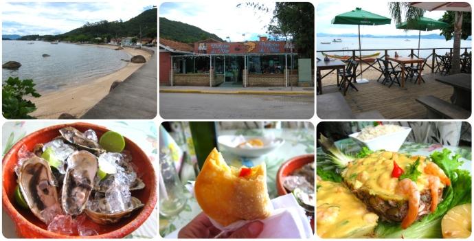 Sambaqui, restaurante Delícias do Mar, ostras, pastel de berbigão e camarão tropical