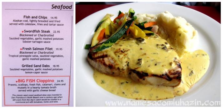 Peixe grelhado ao molho de lagosta e estragão, e o menu do Big Fish Grill