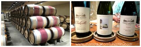 Barris de vinhos tintos da Robert Mondavi Winery e vinhos degustados no tour