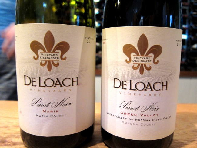 Vinhos degustados na DeLoach Vineyards, Russian River Valley - Califórnia
