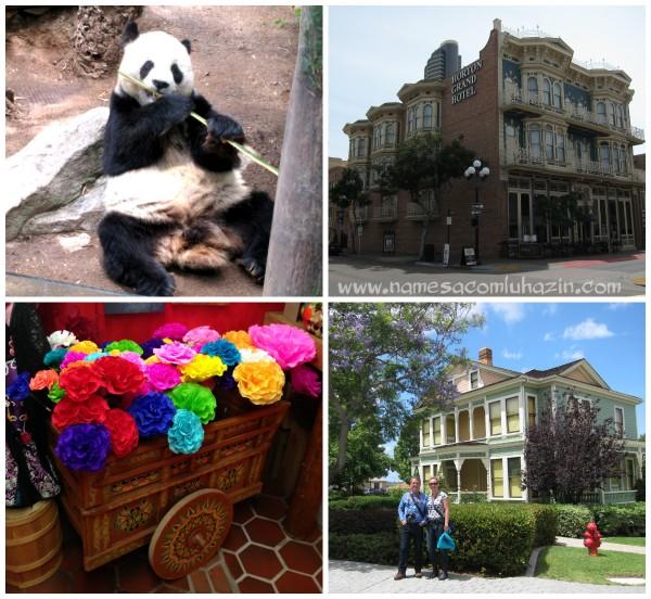 Panda no Zoo de San Diego, prédio do Gaslamp Quarter, artesanato mexicano e casa típica em Old Town