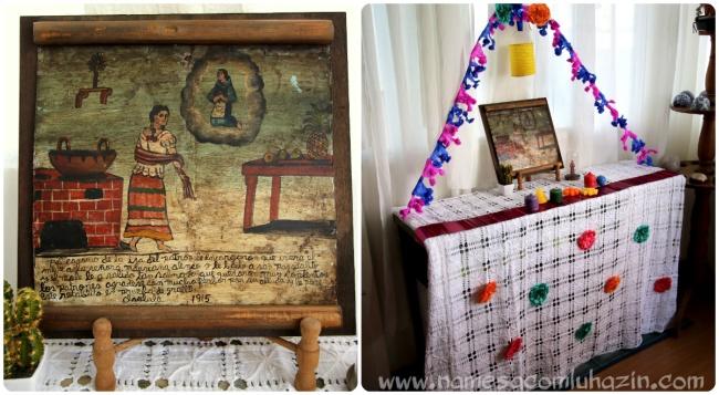 """Ex-voto adquirido num antiquário, no México, completando 100 anos em 2015, e o """"altar"""" que preparamos para ele ao lado da mesa onde o jantar foi servido"""