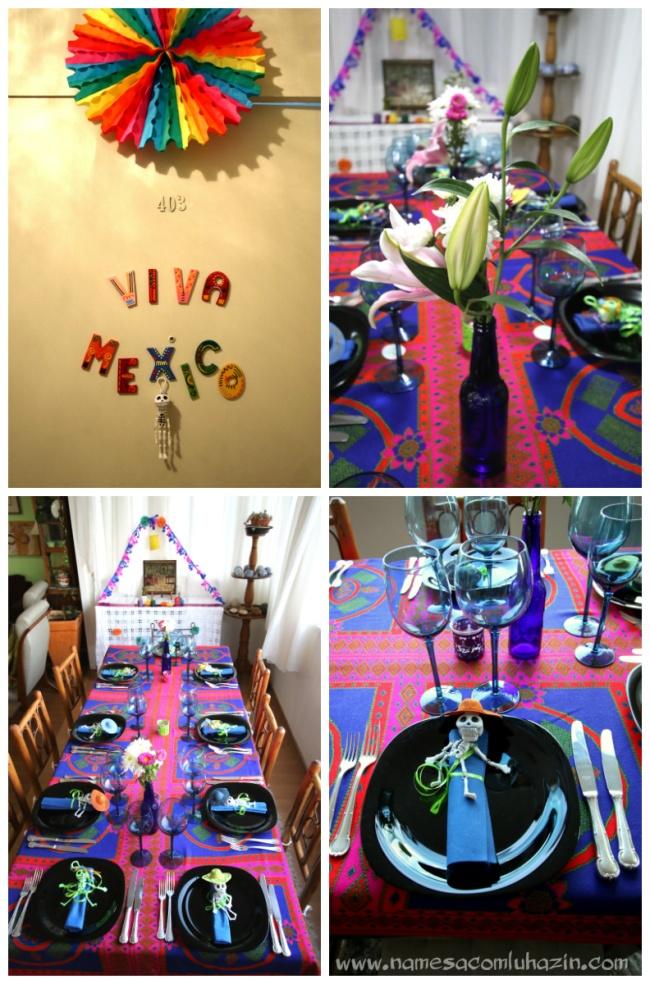Detalhe na porta de entrada e a mesa decorada para o jantar