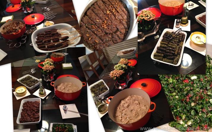 Mesa de pratos principais preparados por mim e Dudu
