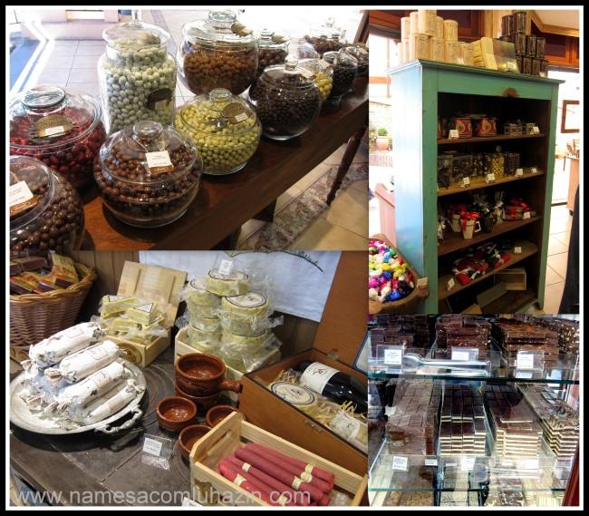"""Loja de chocolates Prawer, observem os """"salames"""" e """"queijos"""" de chocolate"""