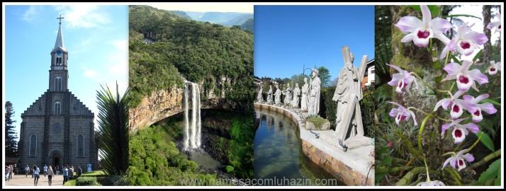 Matriz de São Pedro, Cascata do Caracol e estátuas dos apóstolos em Gramado-RS