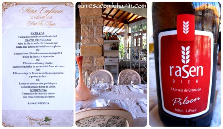 Menu do almoço do Bouquet Garni, o salão e a ótima cerveja local Raisen