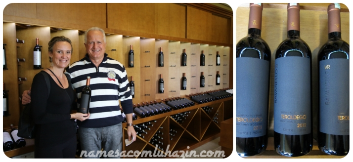 Eu e Ravanello, na loja de vinhos da Vinícola e seu vinho emblemático, Teroldego 2012