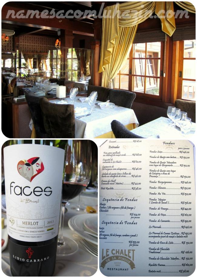 Salão do restaurante Le Chalet, vinho da Lidio Carraro e cardápio de fondues