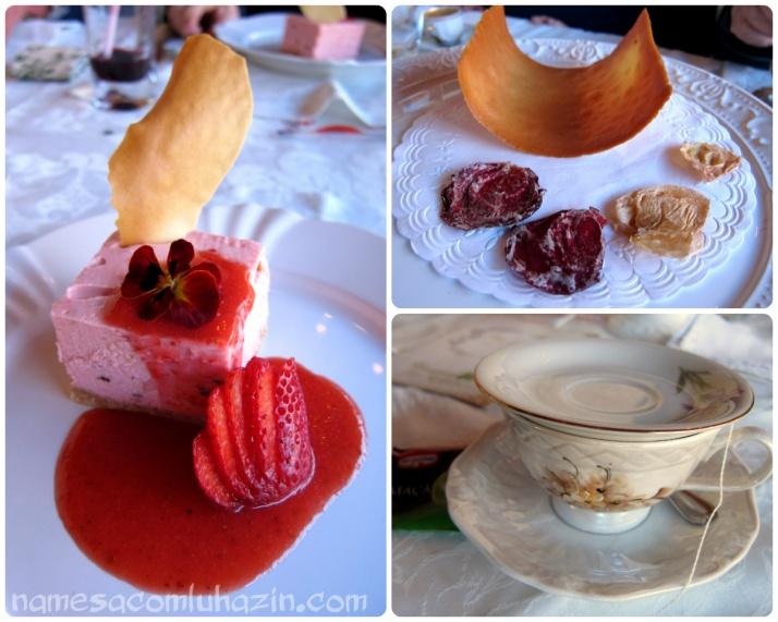 Cheesecake de morango e um chazinho digestivo