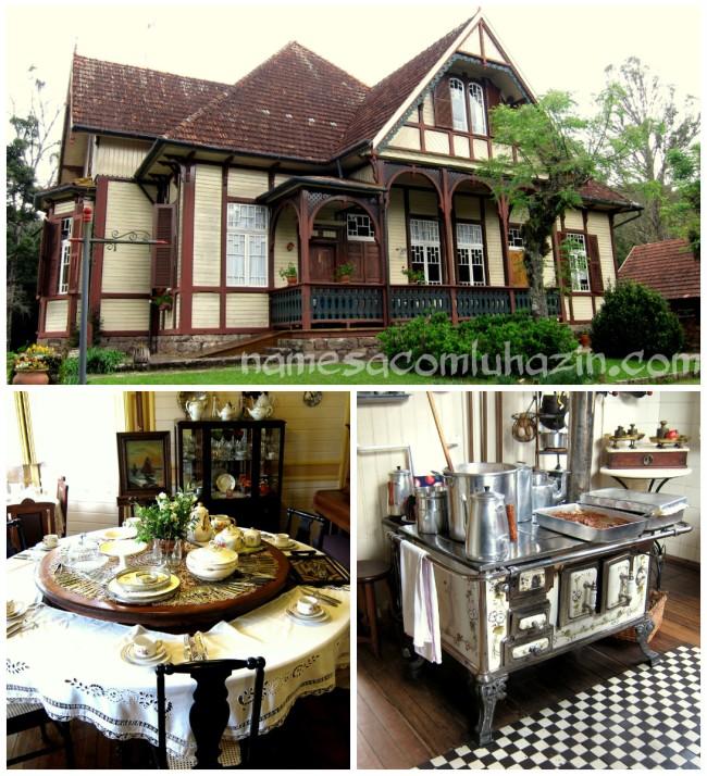 Castelinho Caracol, uma de suas salas bem conservadas e o centenário fogão...