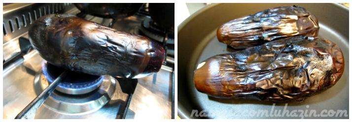 Berinjela vai à chama do fogão e depois para o forno