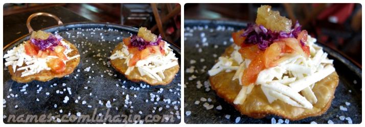 Pastel aberto com queijo serro e geleia de abacaxi