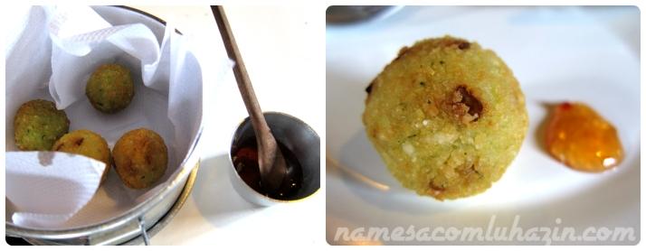 Bolinho frito de arroz com queijo queijo canastra e geleia picante