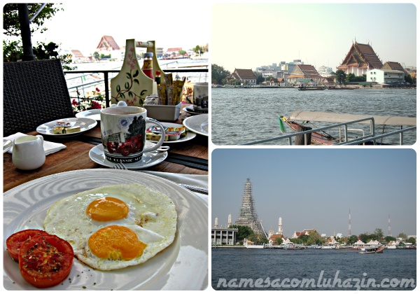 Vista do café da manhã de nosso hotel em Bangkok