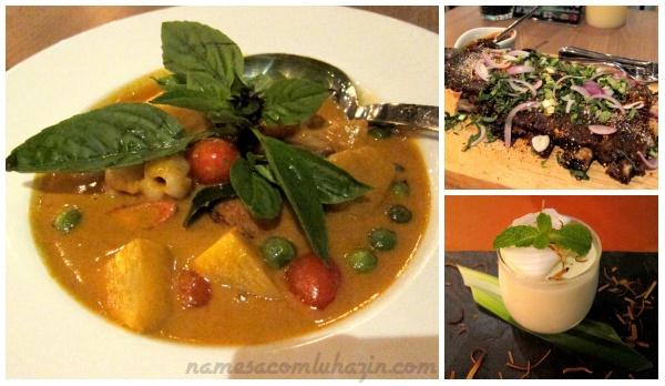 Pato ao curry vermelho (esq), Costela de leitão com ervas e panacota de coco.
