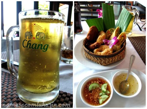 Chopp tailandês Chang e entradinhas típicas