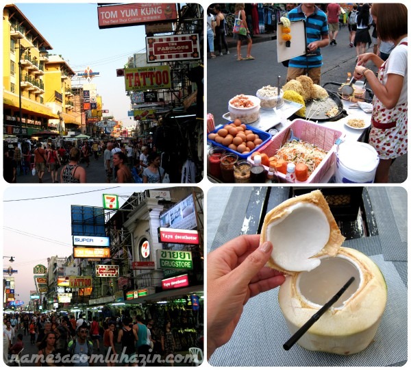 Khaosan Road, em Bangkok, rua de compras e comidinhas