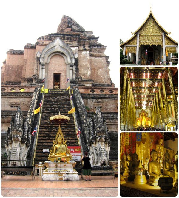 Wat Chegi Luang - Templo antigo (à esq.) e Templo novo (à dir.)
