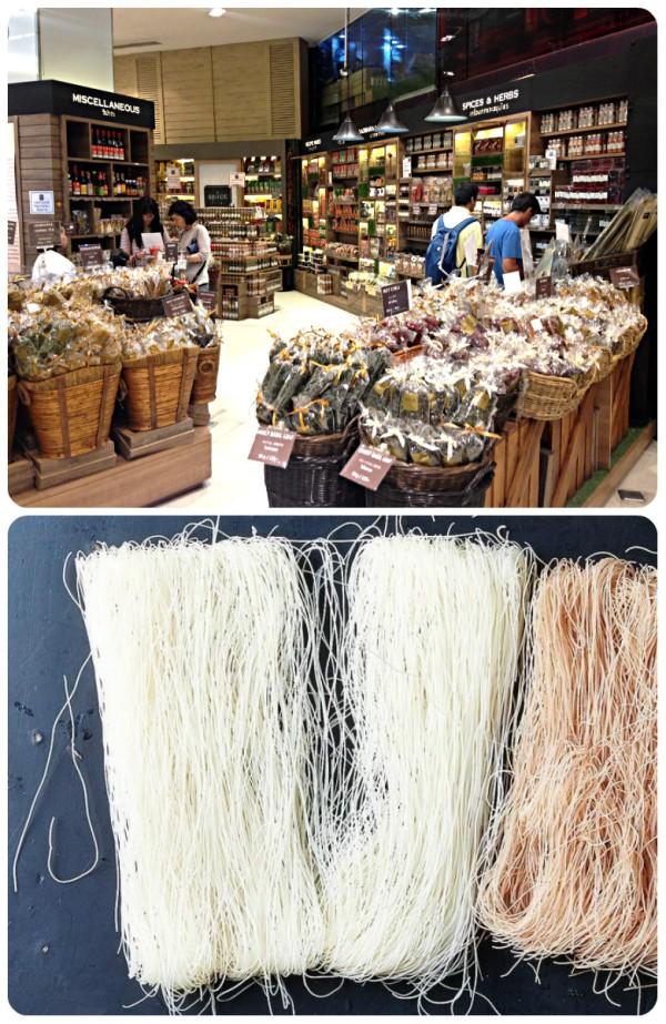 Loja em Bangkok e noodles (macarrão de arroz)