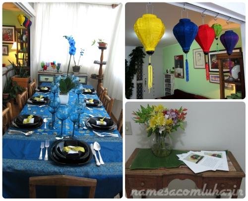 Mesa, luminárias vietnamitas e hall de entrada com cardápio do jantar