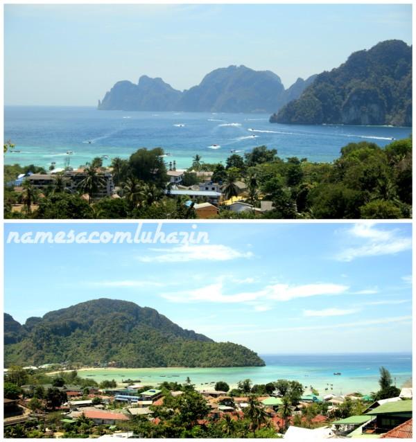 As belas vistas de nosso quarto, no último nível do Papaya Phi Phi Resort