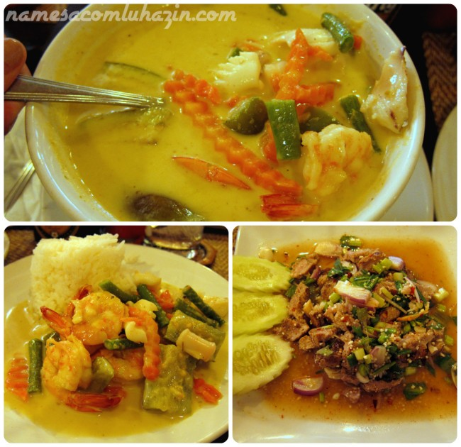 "Green curry com ""sea food"", e porco com especiarias"