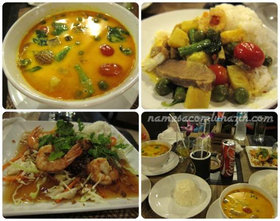 """""""Red Curry with duck"""" e Camarões ao molho de tamarindo do Anna's"""
