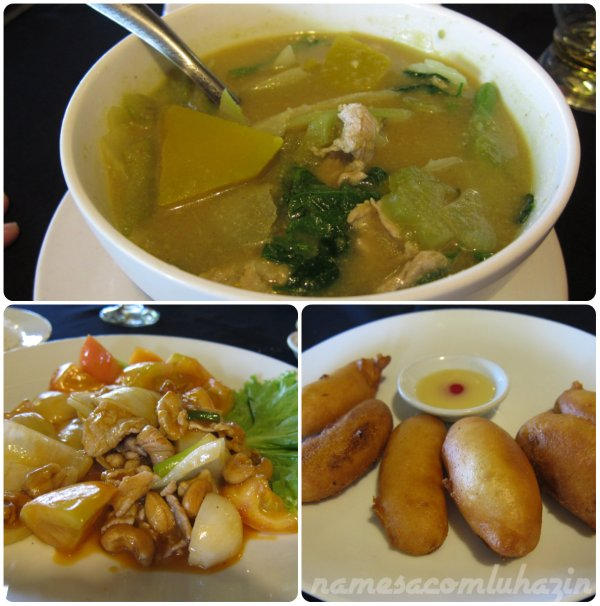 Comida servida no restaurante dentro do complexo de Angkor