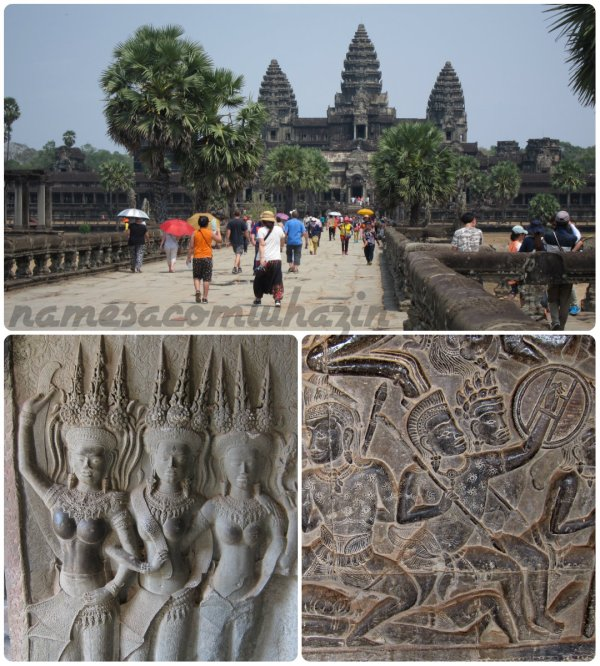 "Entrada principal de Angkor Wat, ""apsaras"" e alto-relevos no interior do templo"
