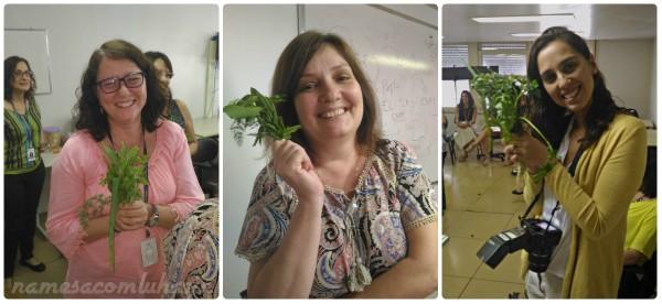 """Alunas (Flávia, Helena e a Juliana, a fotógrafa oficial da ASCOM TRE-RJ) com seus """"bouquets"""""""