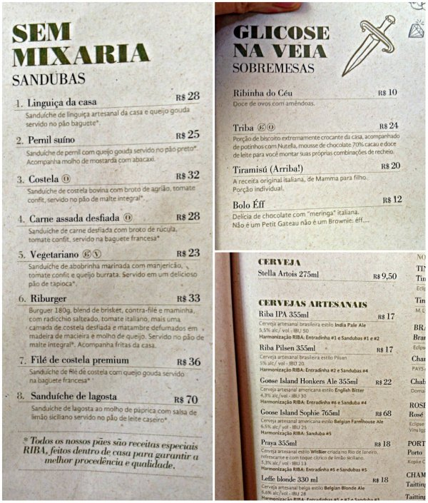 Cardápio de sanduíches, cervejas artesanais e sobremesas do Riba