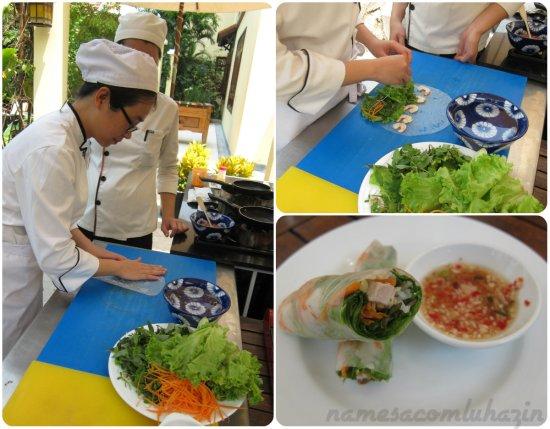 Spring-rolls: o papel de arroz é hidratado e depois recheado