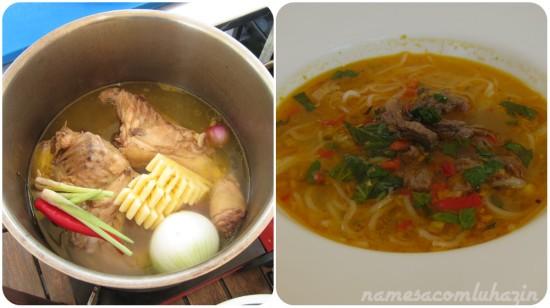 Sopa de carne à base de caldo de galinha
