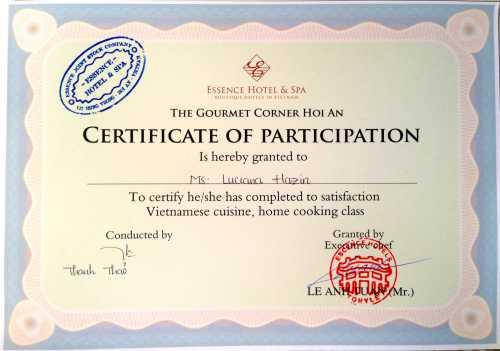 Meu certificado de conclusão do curso emitido pelo Essence Hotel